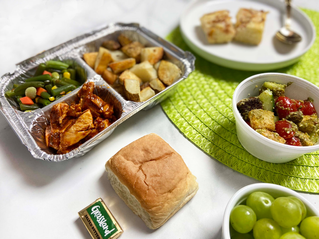 meals on wheels food example, bbq chicken and potatoes